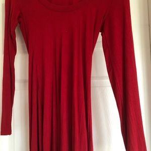 Red tunic long sleeve cotton shirt